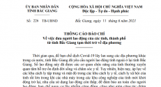 Thông cáo báo chí về việc đưa người lao động của các tỉnh, thành phố từ tỉnh Bắc Giang tạm thời trở về địa phương